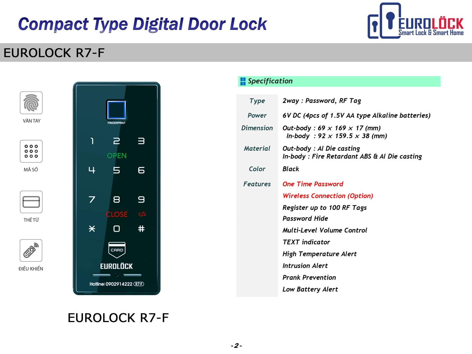 Khóa cửa vân tay EUROLOCK R7-F