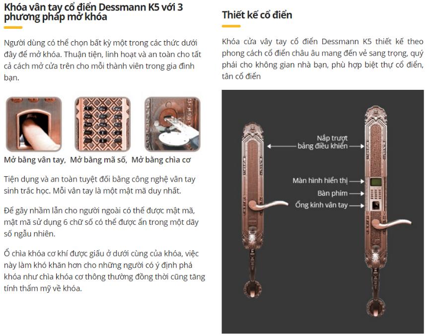 Khóa vân tay cổ điển Dessmann K5